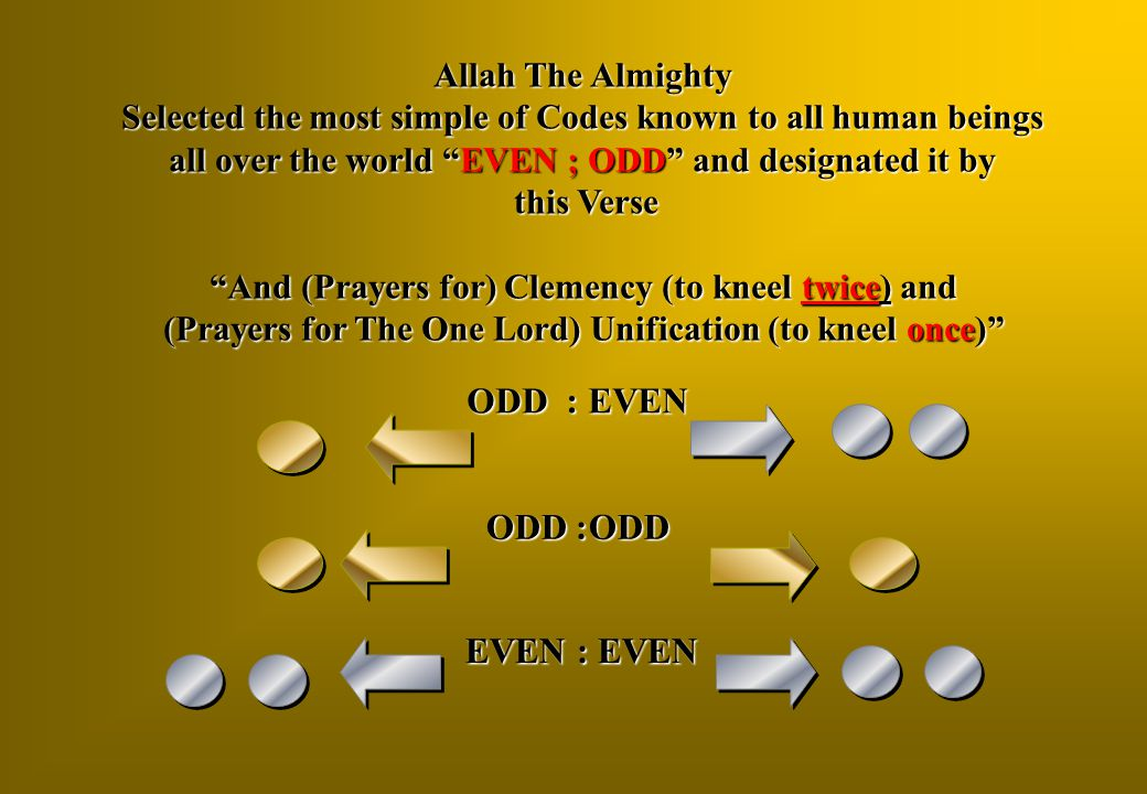 """Allah The Almighty Selected the most simple of Codes known to all human beings all over the world """"EVEN ; ODD"""" and designated it by this Verse this Ve"""