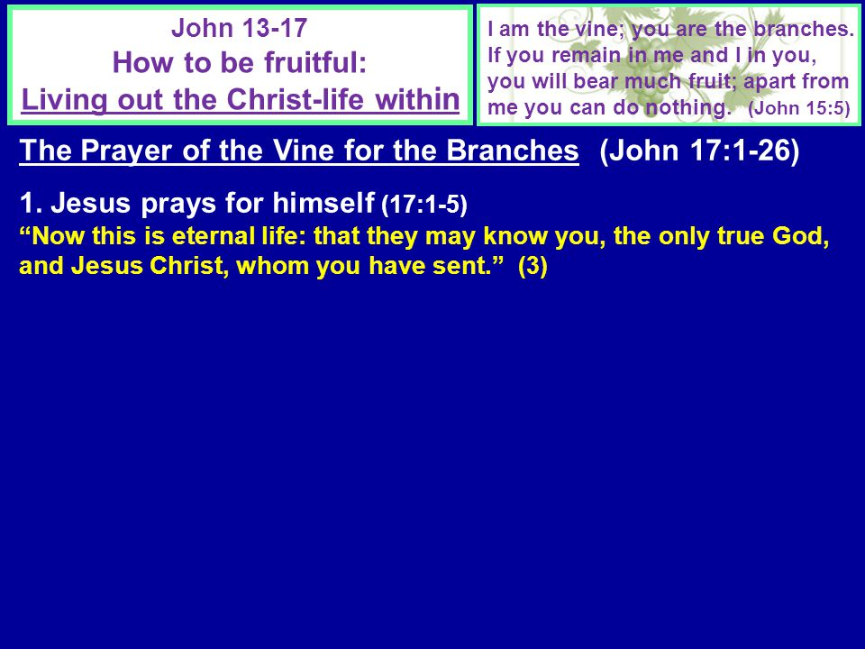 John 13-17 How to be fruitful: Living out the Christ-life with in I am the vine; you are the branches.