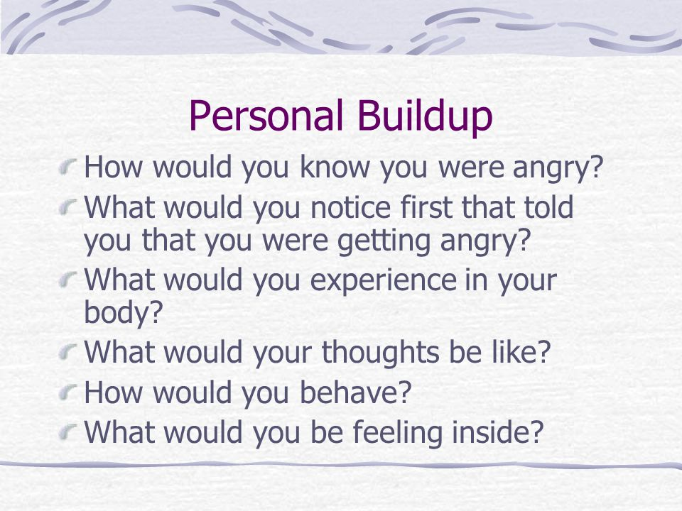 Personal Buildup How would you know you were angry.