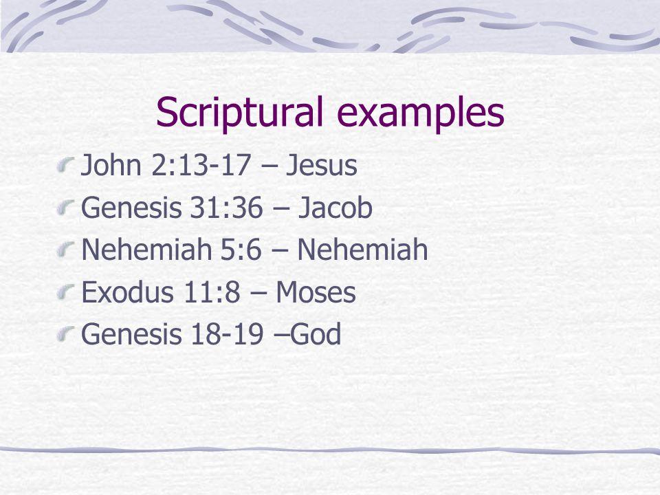 Scriptural examples John 2:13-17 – Jesus Genesis 31:36 – Jacob Nehemiah 5:6 – Nehemiah Exodus 11:8 – Moses Genesis 18-19 –God