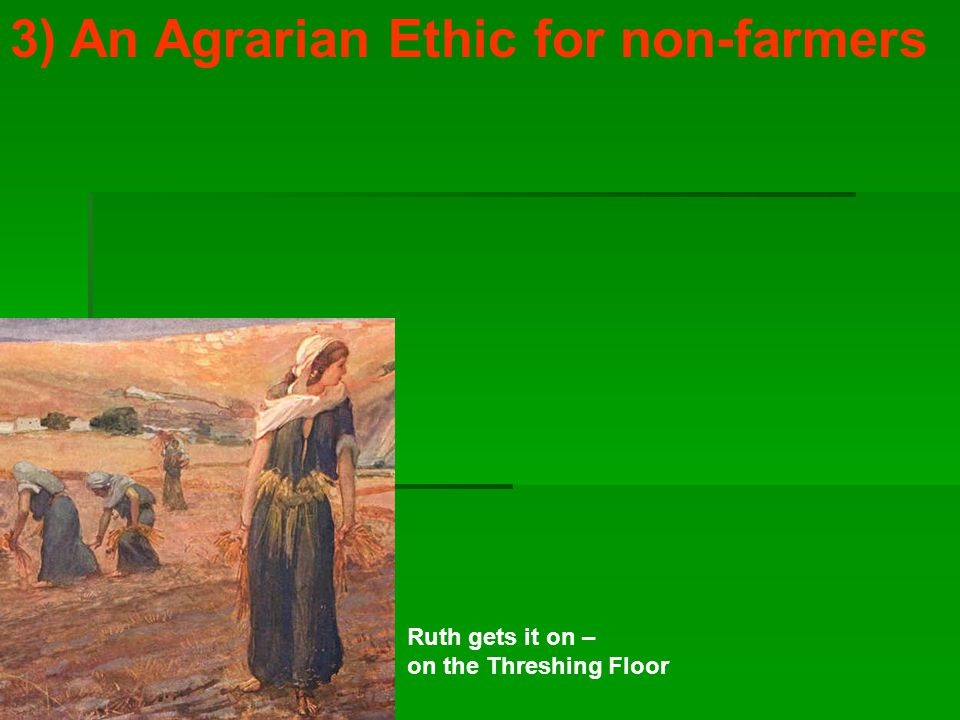 3) An Agrarian Ethic for non-farmers Ruth gets it on – on the Threshing Floor