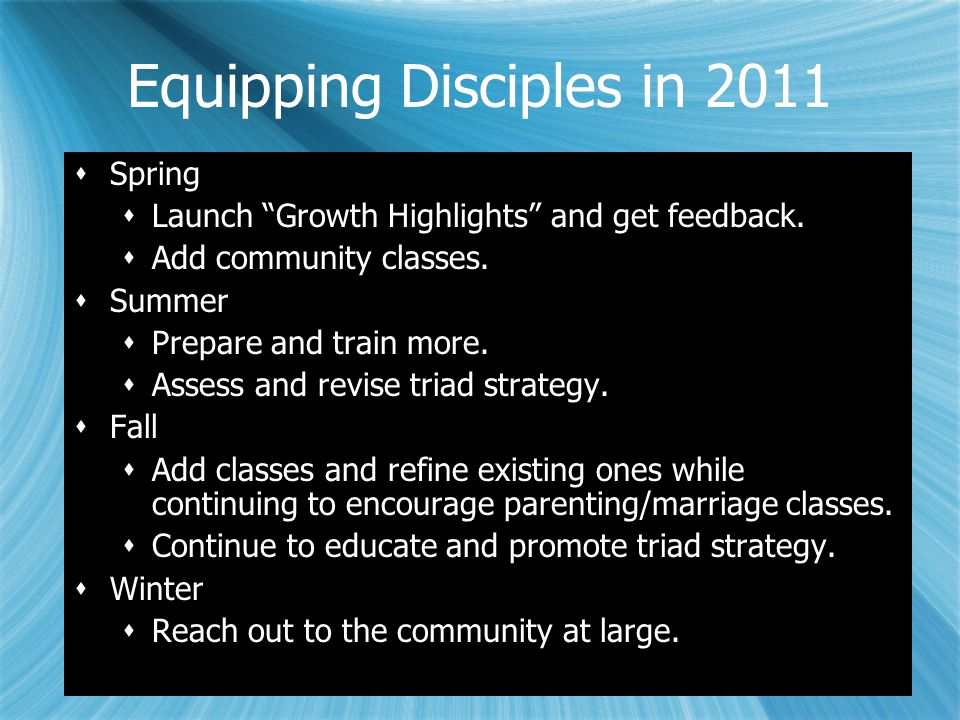 Equipping Disciples in 2011  Spring  Launch Growth Highlights and get feedback.
