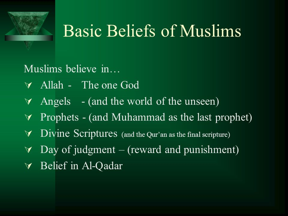 Basic Beliefs of Muslims Muslims believe in…  Allah -The one God  Angels- (and the world of the unseen)  Prophets - (and Muhammad as the last prophet)  Divine Scriptures (and the Qur'an as the final scripture)  Day of judgment – (reward and punishment)  Belief in Al-Qadar
