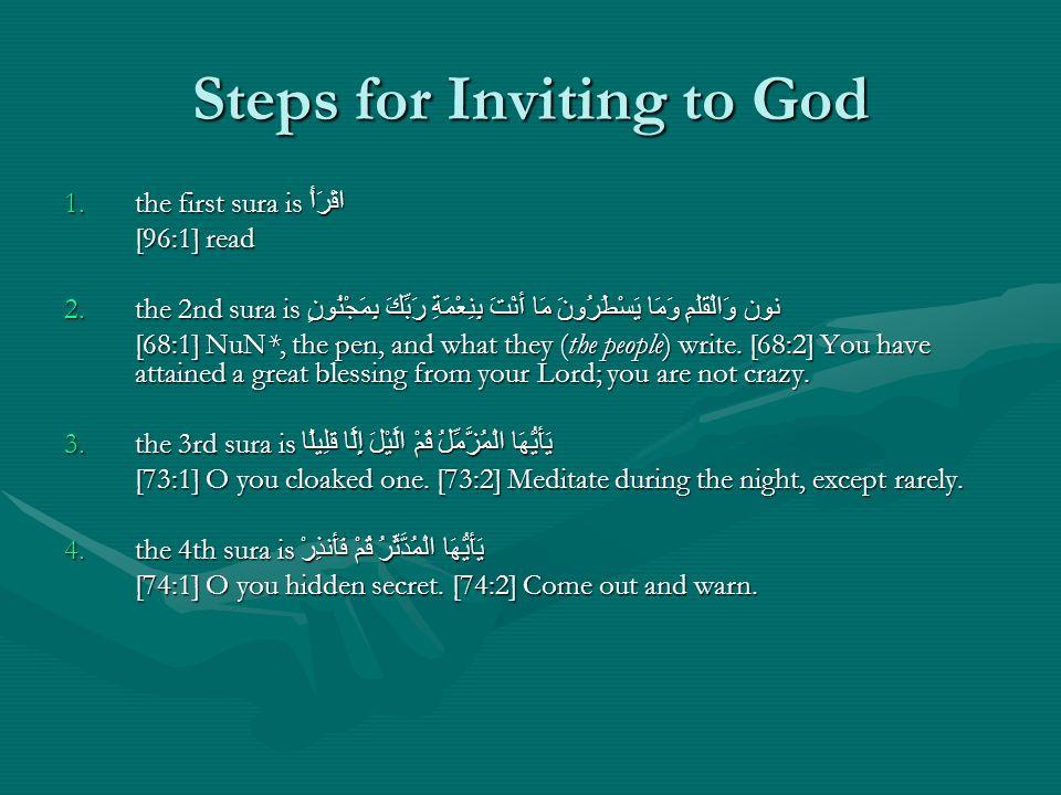 Steps for Inviting to God 1.the first sura is اقْرَأْ [96:1] read 2.the 2nd sura is مَا أَنْتَ بِنِعْمَةِ رَبِّكَ بِمَجْنُونٍ نون وَالْقَلَمِ وَمَا يَ