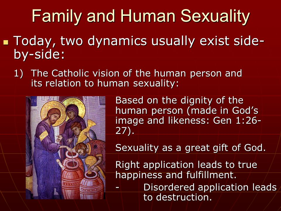 Family and Human Sexuality Today, two dynamics usually exist side- by-side: Today, two dynamics usually exist side- by-side: 1)The Catholic vision of the human person and its relation to human sexuality: Based on the dignity of the human person (made in God's image and likeness: Gen 1:26- 27).