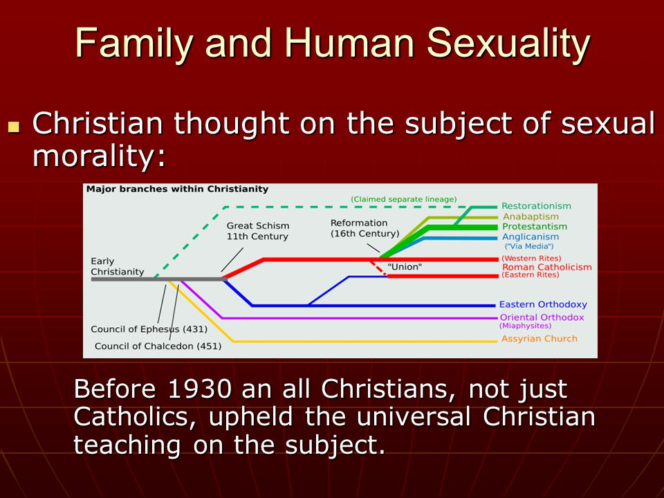 Family and Human Sexuality Christian thought on the subject of sexual morality: Christian thought on the subject of sexual morality: Before 1930 an all Christians, not just Catholics, upheld the universal Christian teaching on the subject.