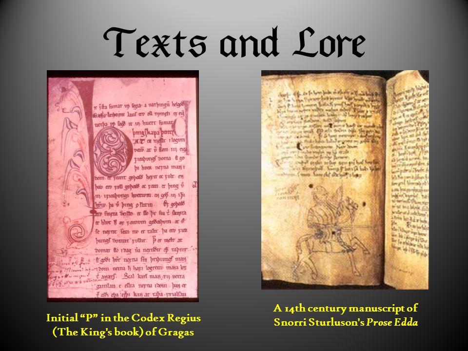 """ A 14th century manuscript of Snorri Sturluson's Prose Edda Initial """"P"""" in the Codex Regius (The King's book) of Gragas"""