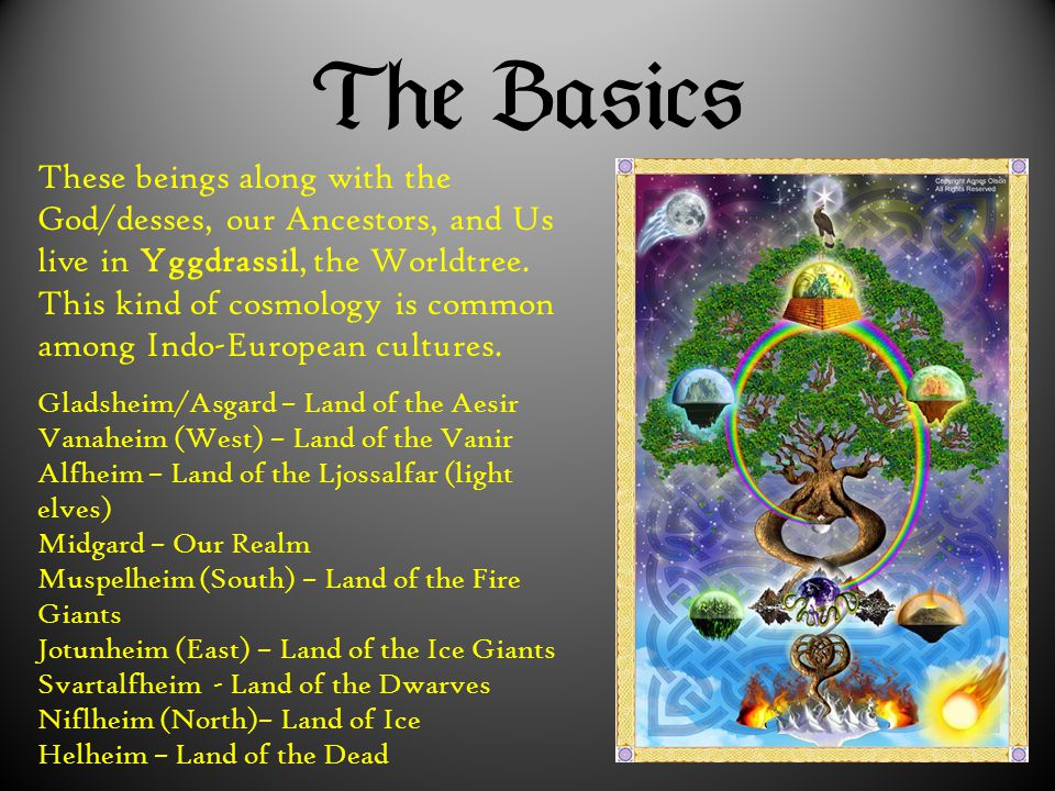  These beings along with the God/desses, our Ancestors, and Us live in Yggdrassil, the Worldtree. This kind of cosmology is common among Ind