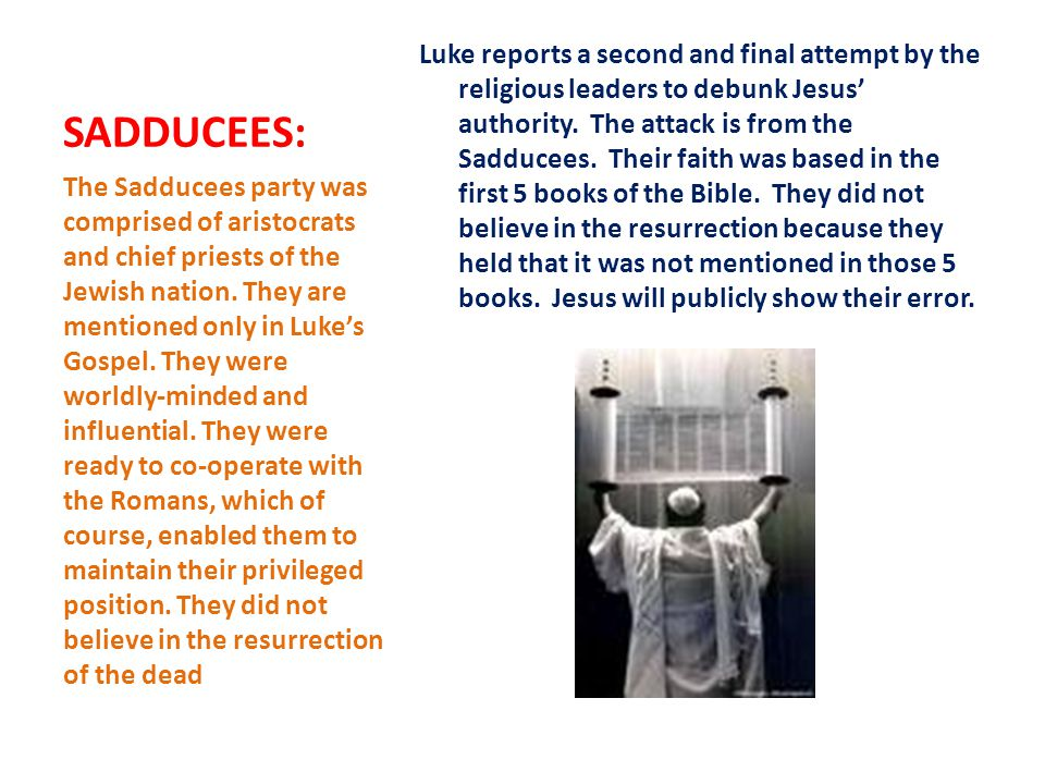 SADDUCEES: Luke reports a second and final attempt by the religious leaders to debunk Jesus' authority.