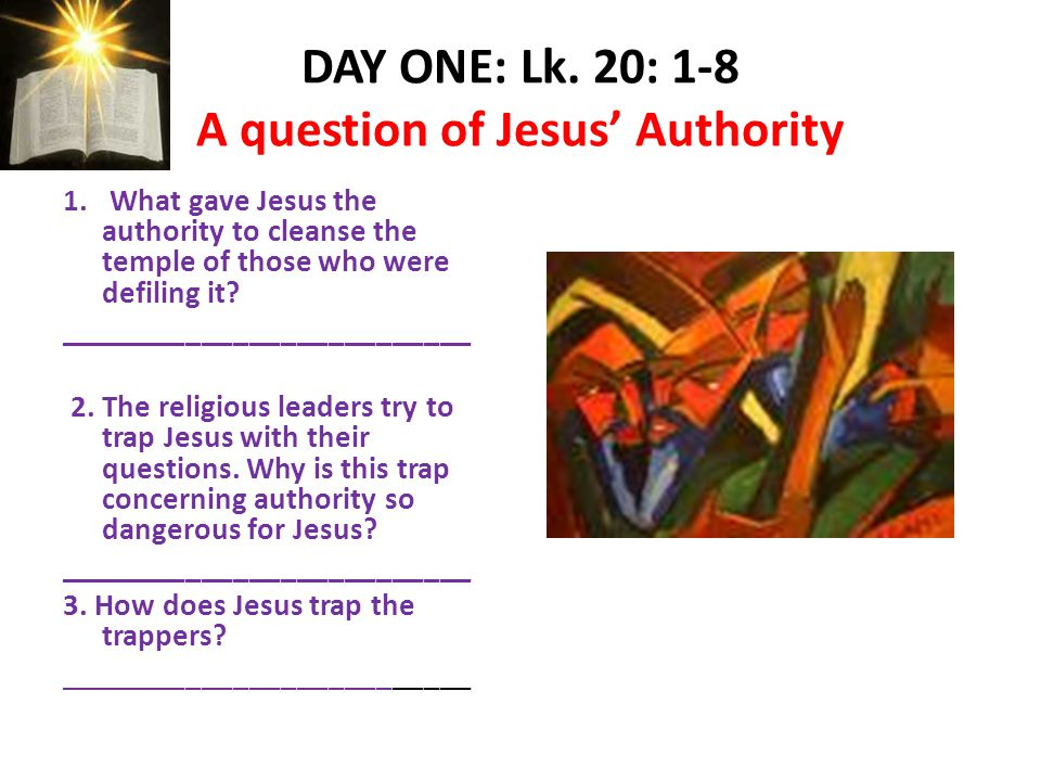 Jesus in Charge The Religious leaders try to re- establish their authority.