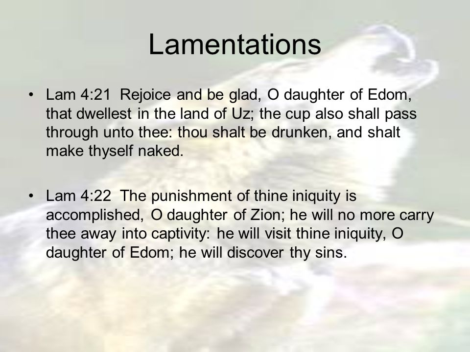 Lamentations Lam 4:21 Rejoice and be glad, O daughter of Edom, that dwellest in the land of Uz; the cup also shall pass through unto thee: thou shalt be drunken, and shalt make thyself naked.