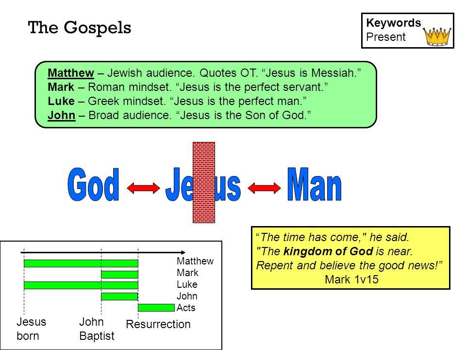 The Gospels Keywords Present Matthew Mark Luke John Acts Jesus born Resurrection John Baptist Matthew – Jewish audience.