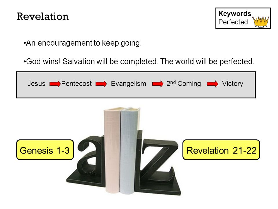 Revelation Keywords Perfected Jesus PentecostEvangelism2 nd ComingVictory An encouragement to keep going.