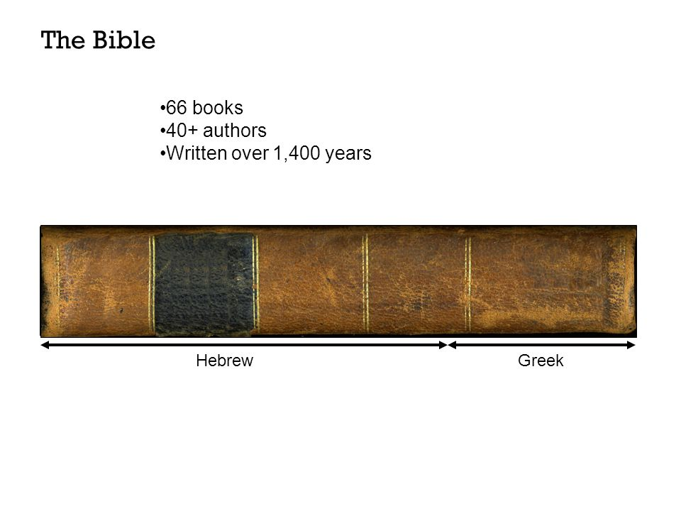 Old Testament (39)New Testament (27) HebrewGreek 66 books 40+ authors Written over 1,400 years The Bible