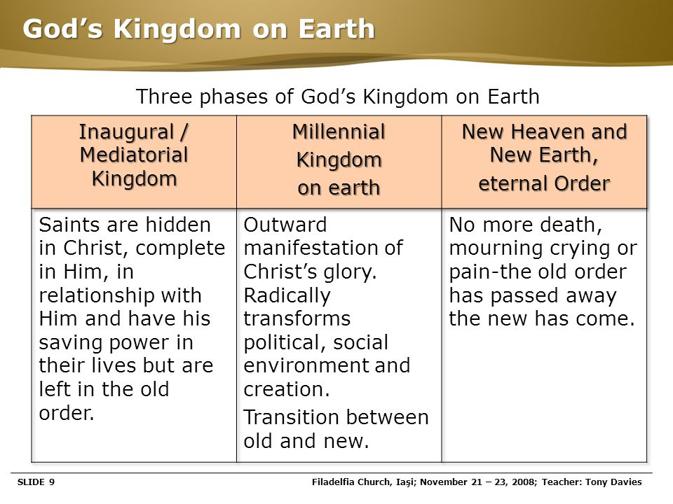 Page  20 The Millenial Kingdom  Israel is saved and walks in the new covenant with amazing spiritual blessings.