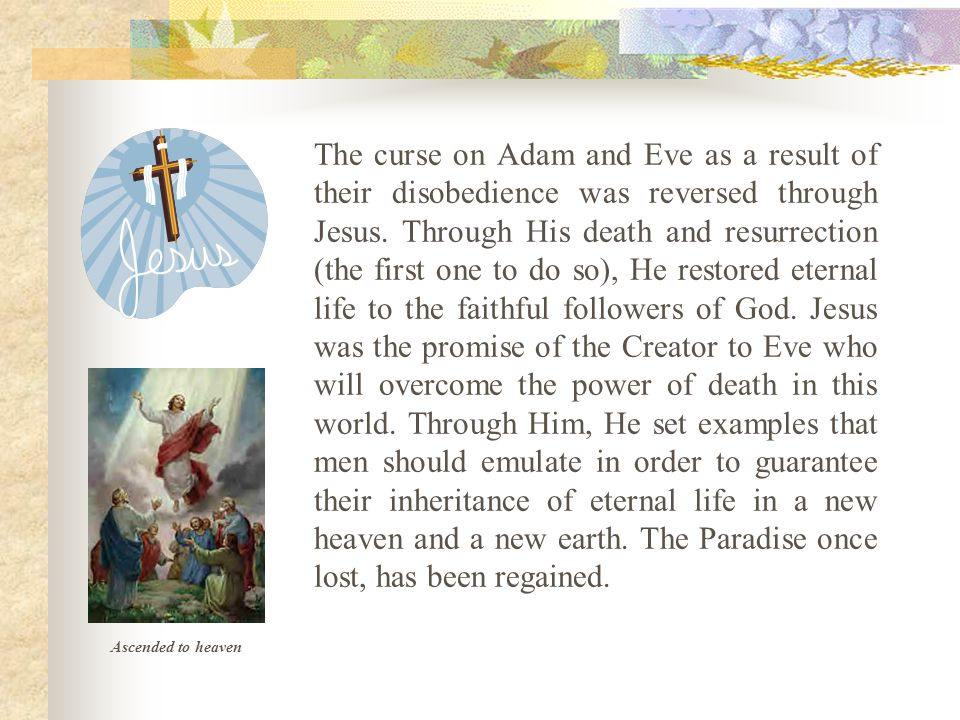 The curse on Adam and Eve as a result of their disobedience was reversed through Jesus.