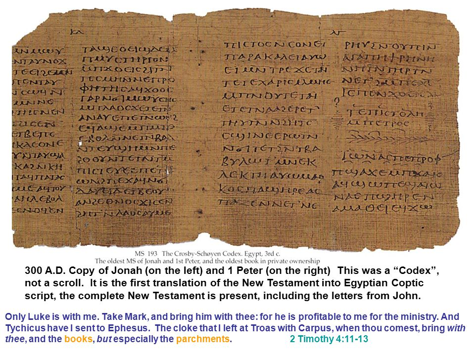 "300 A.D. Copy of Jonah (on the left) and 1 Peter (on the right) This was a ""Codex"", not a scroll. It is the first translation of the New Testament int"