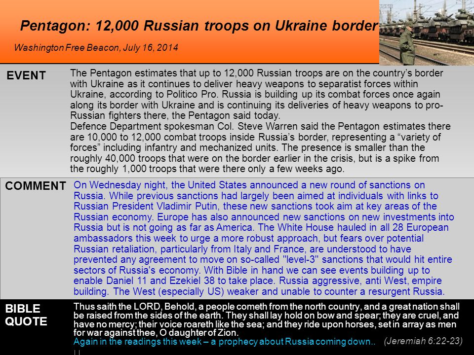 Pentagon: 12,000 Russian troops on Ukraine border The Pentagon estimates that up to 12,000 Russian troops are on the country's border with Ukraine as it continues to deliver heavy weapons to separatist forces within Ukraine, according to Politico Pro.