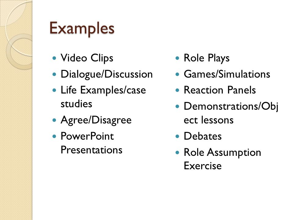 Examples Video Clips Dialogue/Discussion Life Examples/case studies Agree/Disagree PowerPoint Presentations Role Plays Games/Simulations Reaction Panels Demonstrations/Obj ect lessons Debates Role Assumption Exercise
