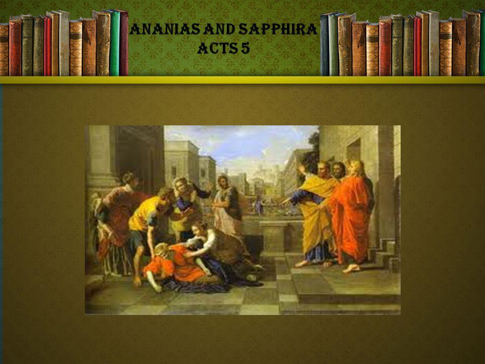 Ananias and Sapphira Acts 5