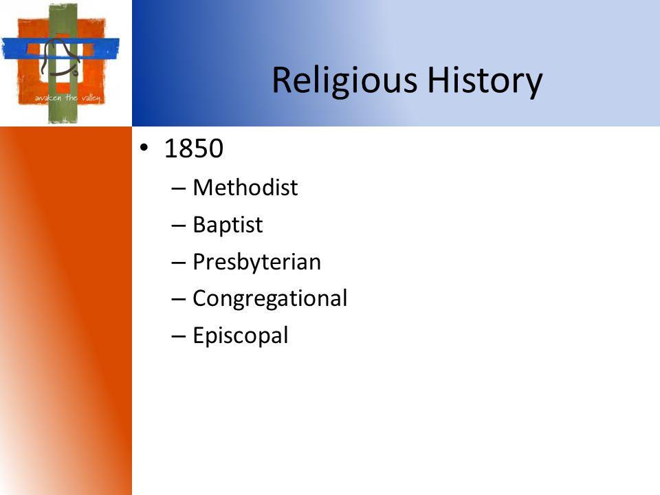 1850 – Methodist – Baptist – Presbyterian – Congregational – Episcopal Religious History