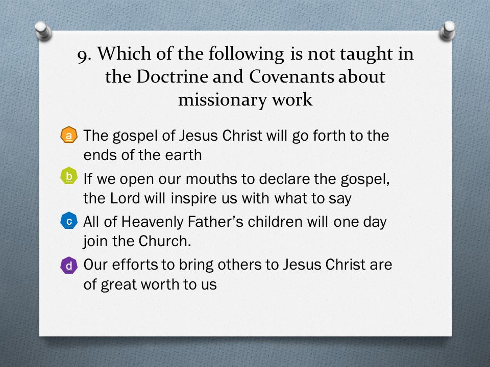 8. When the Lord gave a revelation about the sacrament, what was he referring to when he said 'It mattereth not'? Back