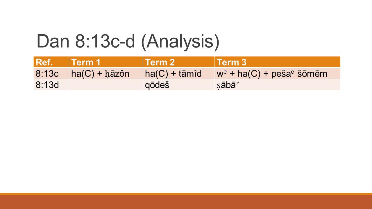Dan 8:13c-d (Analysis) Ref.Term 1Term 2Term 3 8:13c ha(C) + ḥ āzôn ha(C) + tāmîdw e + ha(C) + peša c šōmēm 8:13d qōdeš ṣ ābā