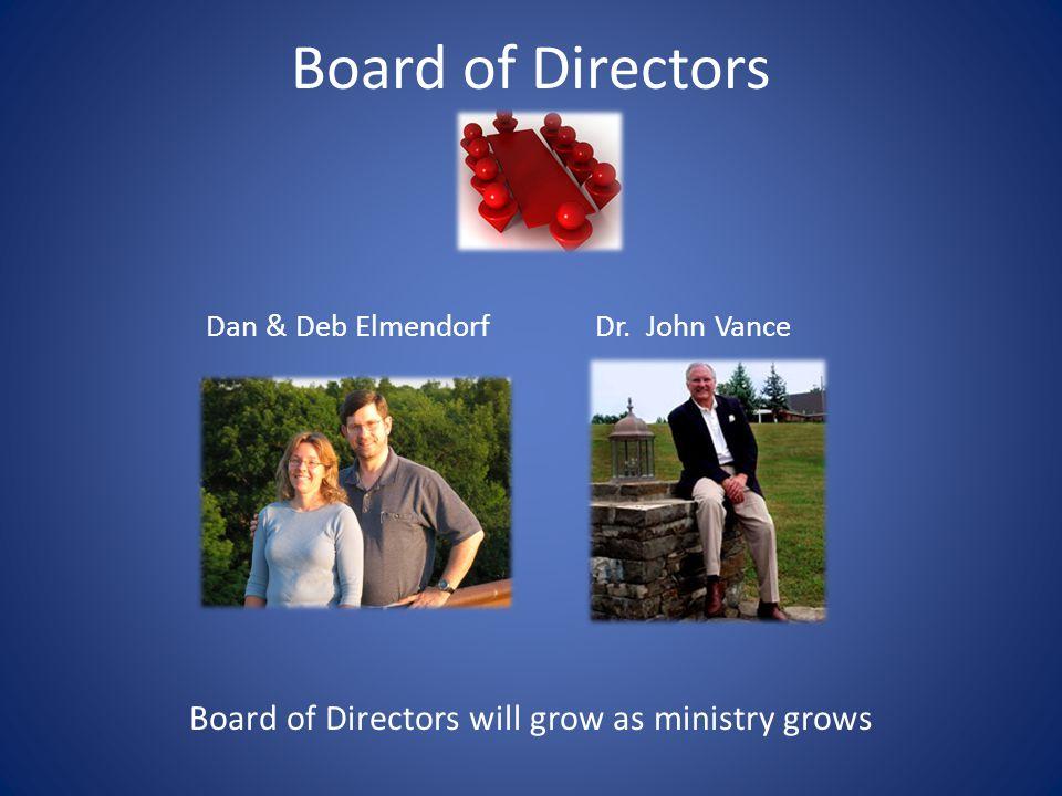 Board of Directors Dan & Deb ElmendorfDr. John Vance Board of Directors will grow as ministry grows