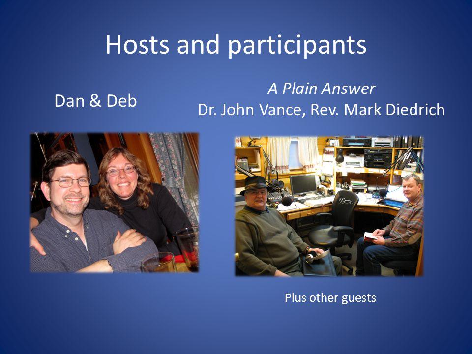 Hosts and participants Dan & Deb A Plain Answer Dr.