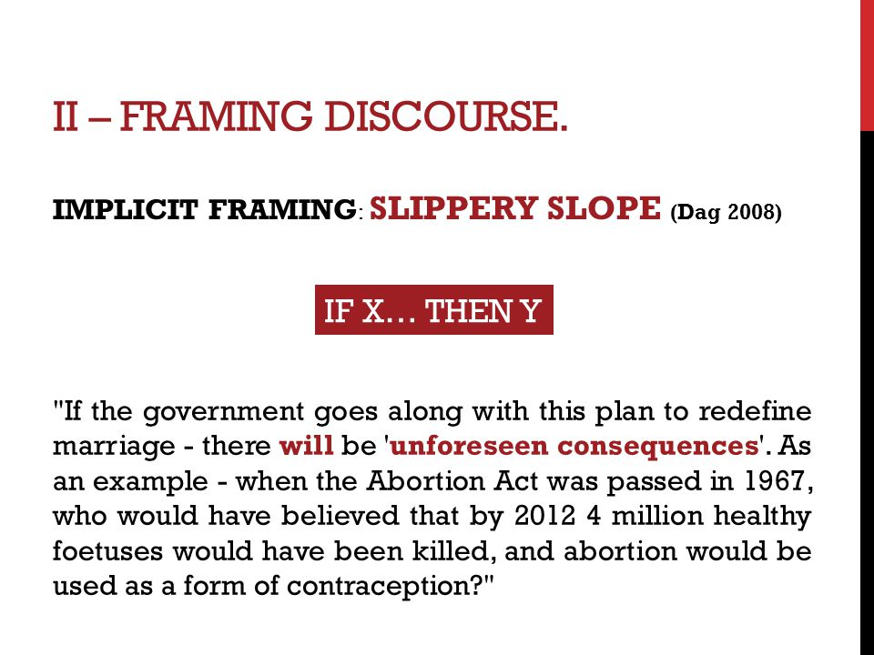 II – FRAMING DISCOURSE. IMPLICIT FRAMING : SLIPPERY SLOPE (Dag 2008) IF X… THEN Y