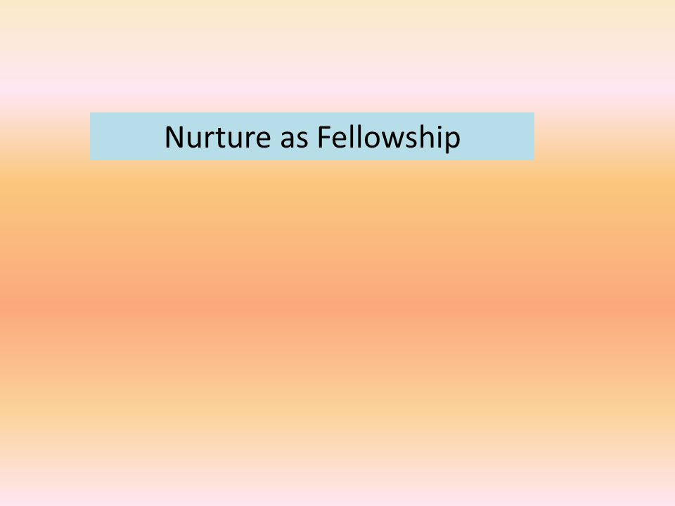 Nurture as Fellowship