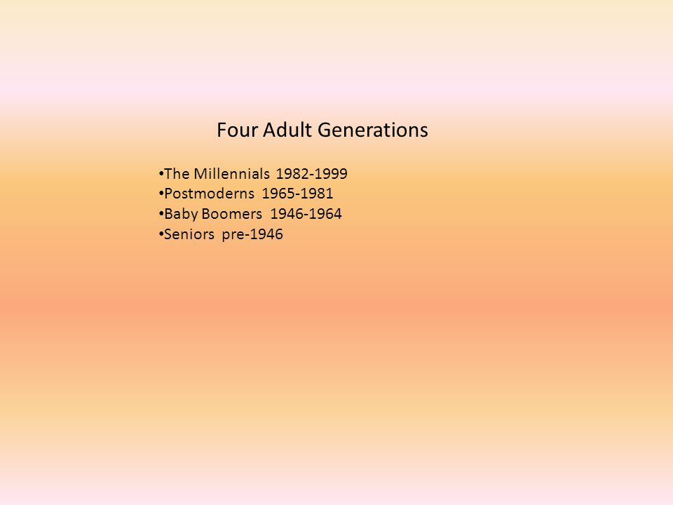 Four Adult Generations The Millennials 1982-1999 Postmoderns 1965-1981 Baby Boomers 1946-1964 Seniors pre-1946
