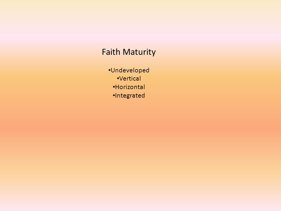 Faith Maturity Undeveloped Vertical Horizontal Integrated