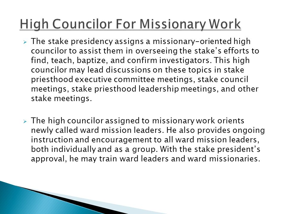  Find – President McAteer's counsel to prepare a list  Teach – New member lessons and Lesson 5.