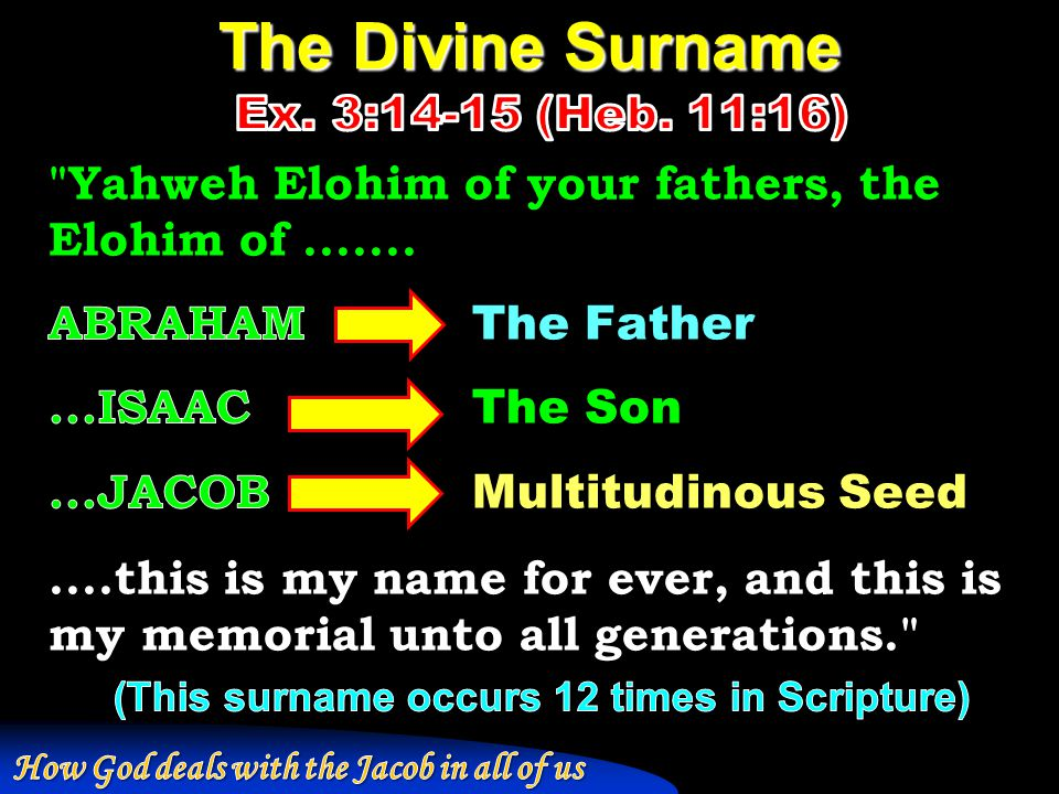 Study 2 – God's poetic eradication of Jacob's deception
