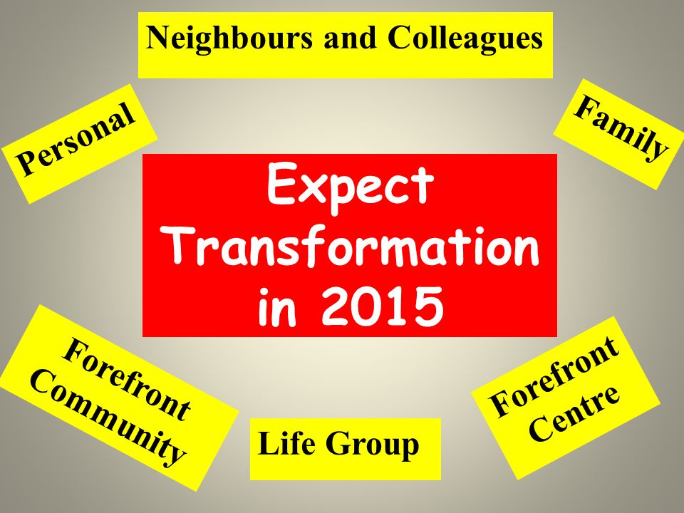 Expect Transformation in 2015 Personal Family Life Group Forefront Centre Forefront Community Neighbours and Colleagues