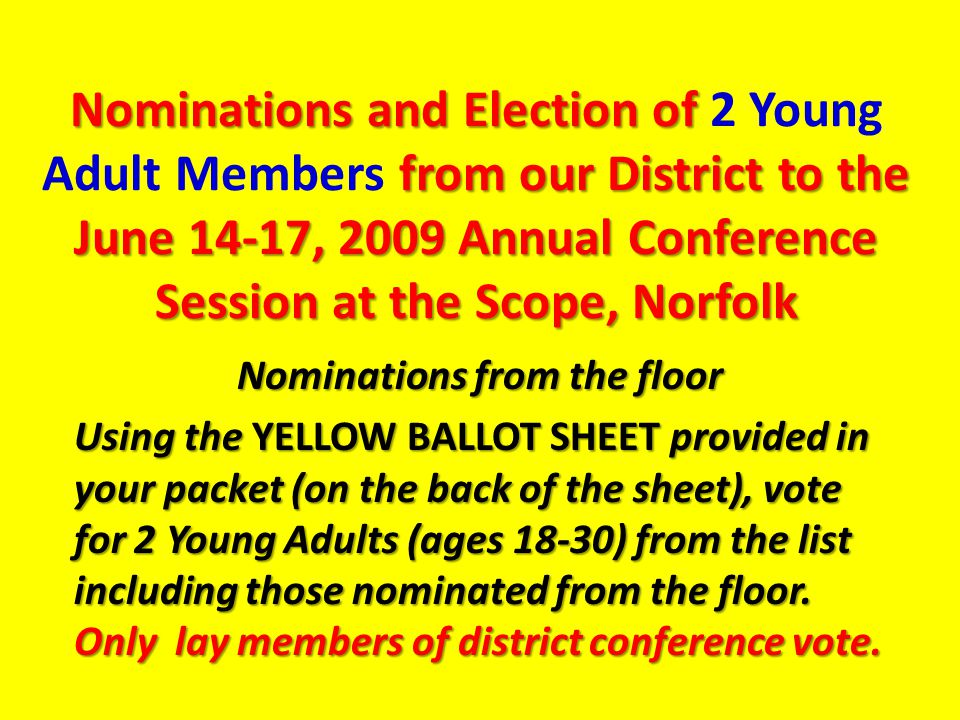 Nominations and Election of from our District to the June 14-17, 2009 Annual Conference Session at the Scope, Norfolk Nominations and Election of 2 Young Adult Members from our District to the June 14-17, 2009 Annual Conference Session at the Scope, Norfolk Nominations from the floor Using the YELLOW BALLOT SHEET provided in your packet (on the back of the sheet), vote for 2 Young Adults (ages 18-30) from the list including those nominated from the floor.