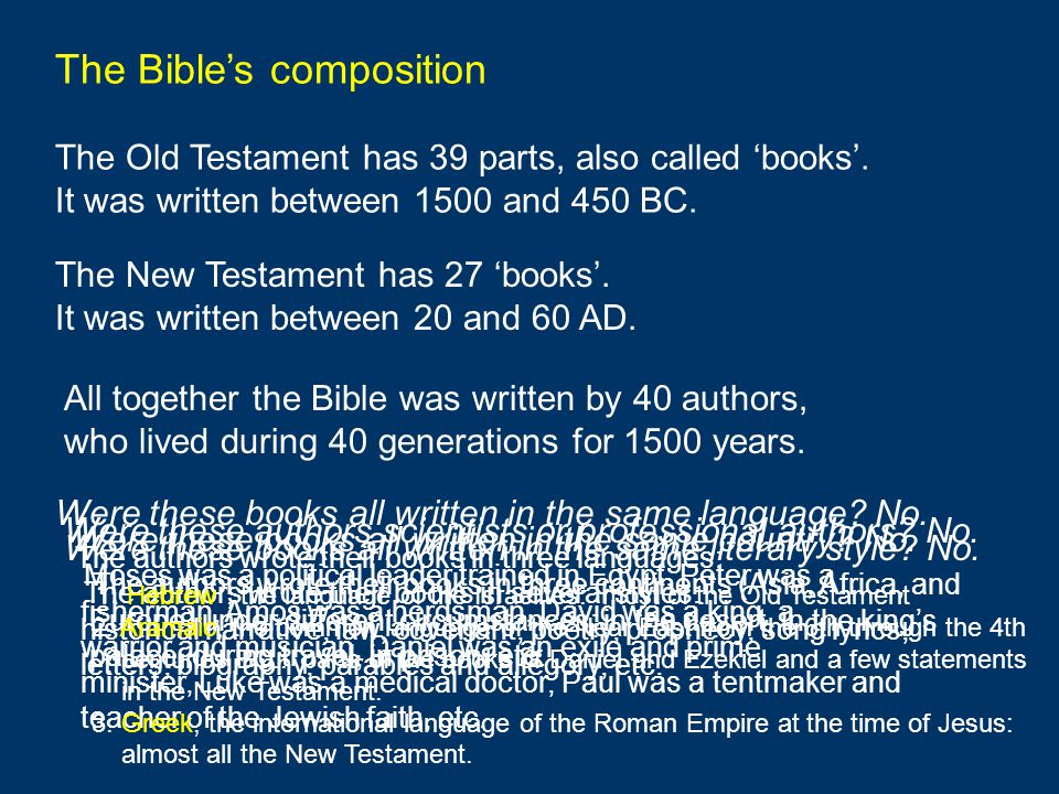 The Bible's composition The Old Testament has 39 parts, also called 'books'. It was written between 1500 and 450 BC. The New Testament has 27 'books'.