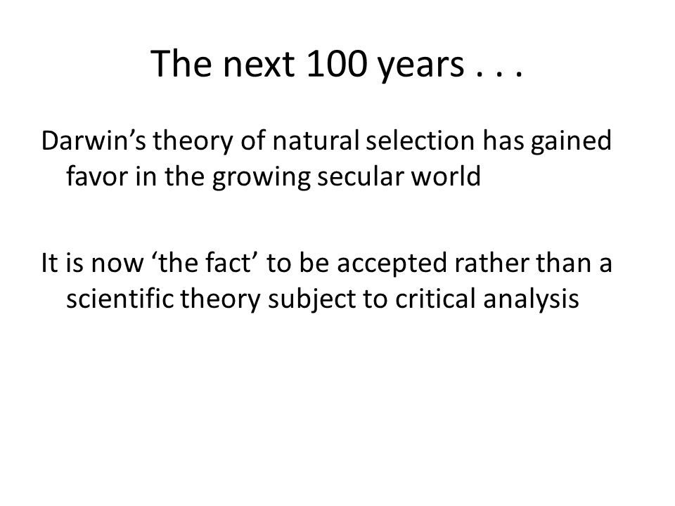 The next 100 years...