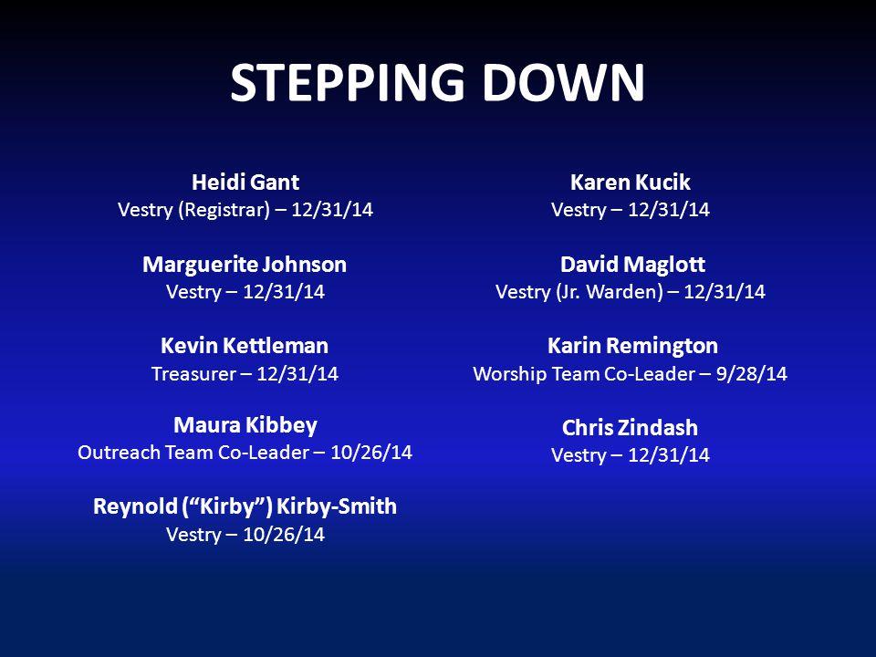 STEPPING DOWN Heidi Gant Vestry (Registrar) – 12/31/14 Marguerite Johnson Vestry – 12/31/14 Kevin Kettleman Treasurer – 12/31/14 Maura Kibbey Outreach Team Co-Leader – 10/26/14 Reynold ( Kirby ) Kirby-Smith Vestry – 10/26/14 Karen Kucik Vestry – 12/31/14 David Maglott Vestry (Jr.