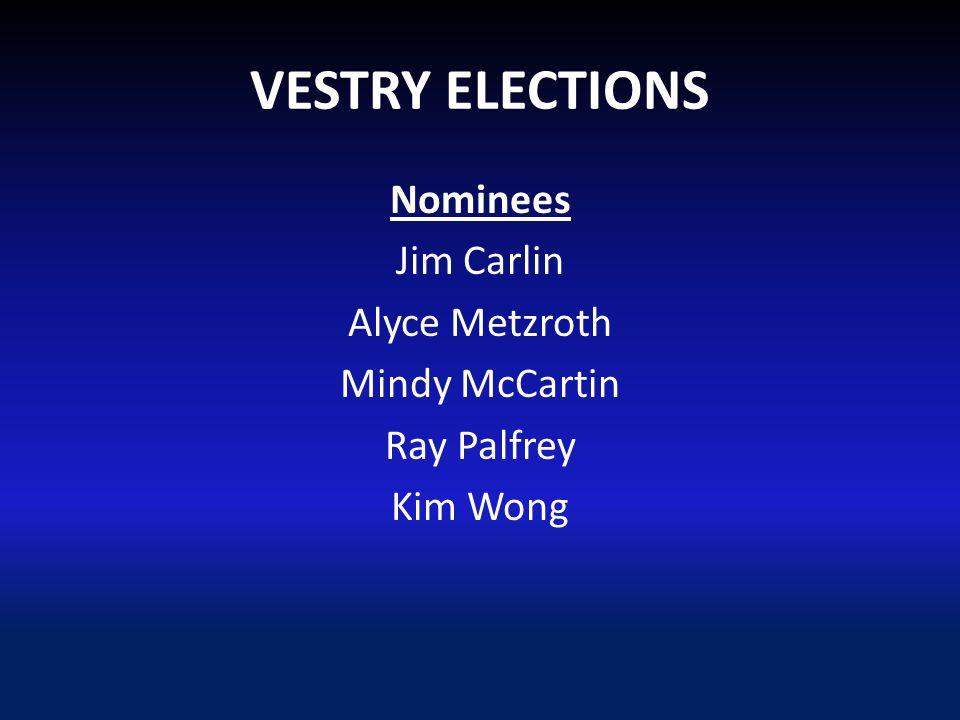 VESTRY ELECTIONS Nominees Jim Carlin Alyce Metzroth Mindy McCartin Ray Palfrey Kim Wong