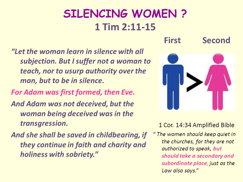SILENCING WOMEN . 1 Tim 2:11-15 First Second Let the woman learn in silence with all subjection.