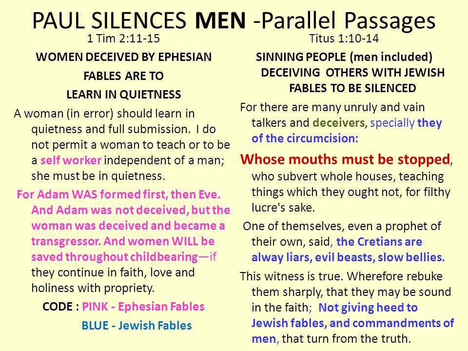PAUL SILENCES MEN -Parallel Passages 1 Tim 2:11-15 WOMEN DECEIVED BY EPHESIAN FABLES ARE TO LEARN IN QUIETNESS A woman (in error) should learn in quietness and full submission.