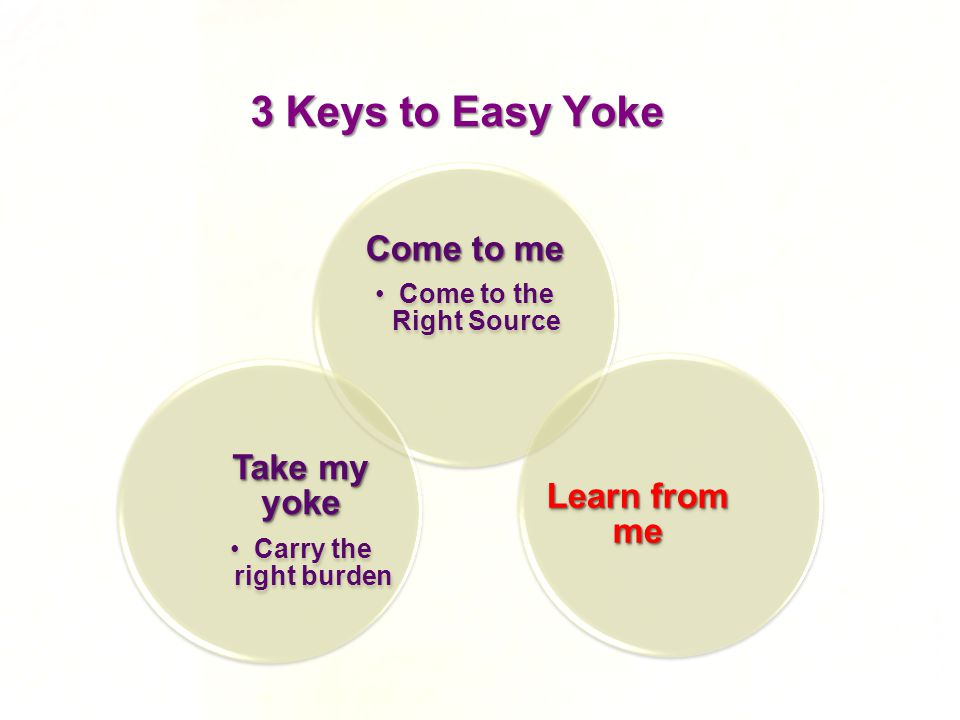 3 Keys to Easy Yoke Come to me Come to the Right Source Take my yoke Carry the right burden Learn from me