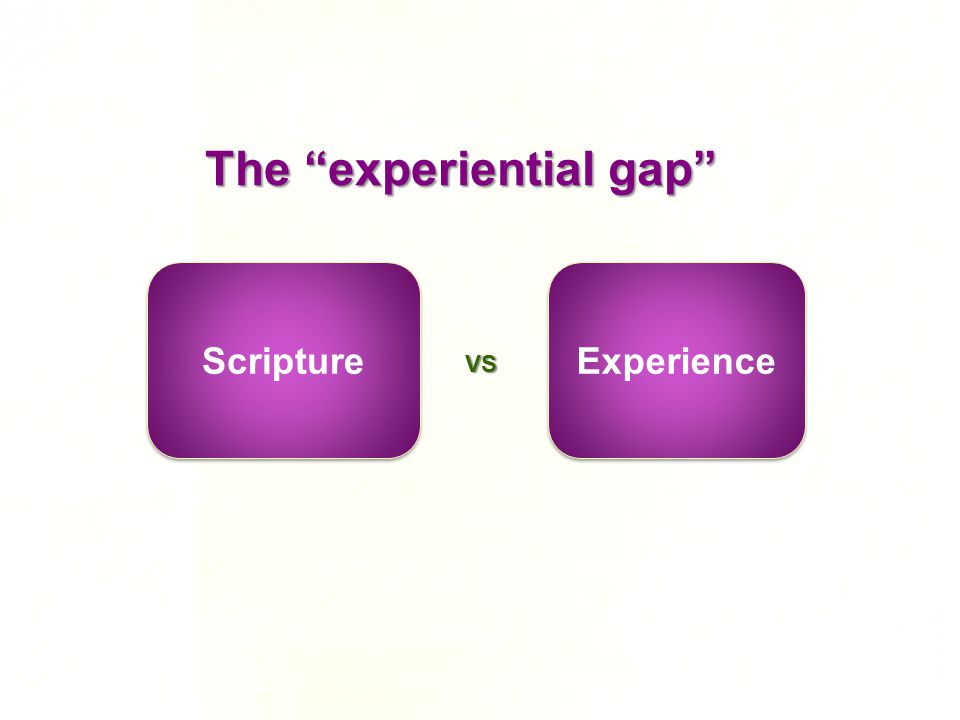 The experiential gap Scripture Experience VS