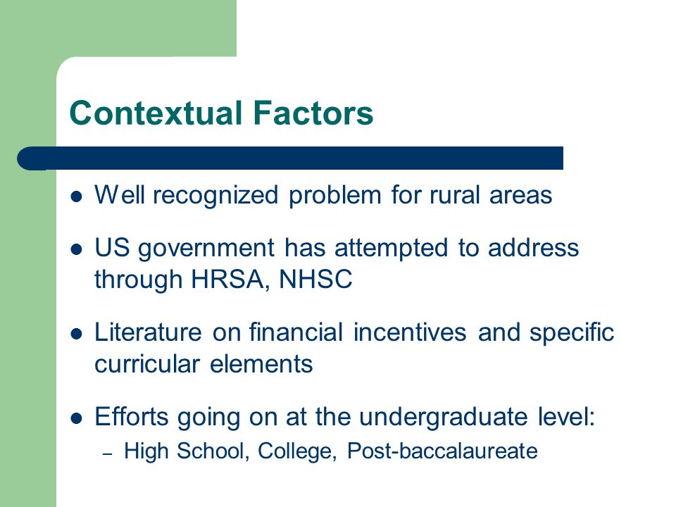 Contextual Factors Well recognized problem for rural areas US government has attempted to address through HRSA, NHSC Literature on financial incentives and specific curricular elements Efforts going on at the undergraduate level: – High School, College, Post-baccalaureate
