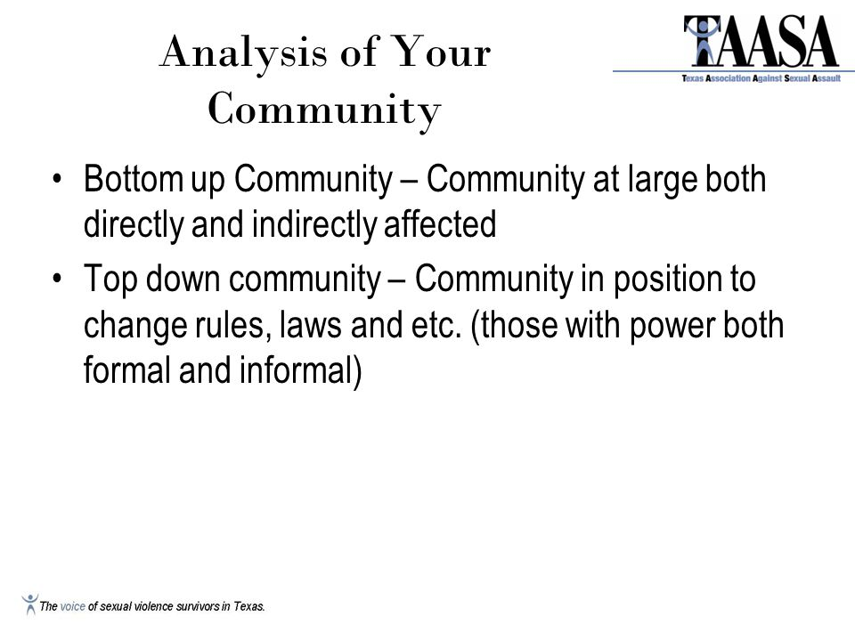 Analysis of Your Community Bottom up Community – Community at large both directly and indirectly affected Top down community – Community in position to change rules, laws and etc.