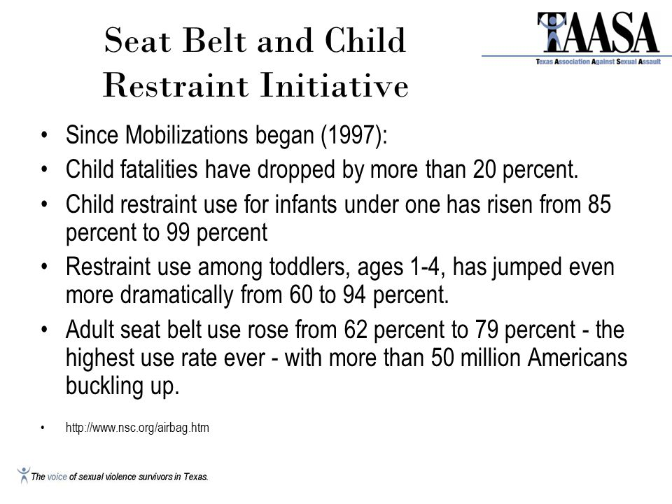 Seat Belt and Child Restraint Initiative Since Mobilizations began (1997): Child fatalities have dropped by more than 20 percent.