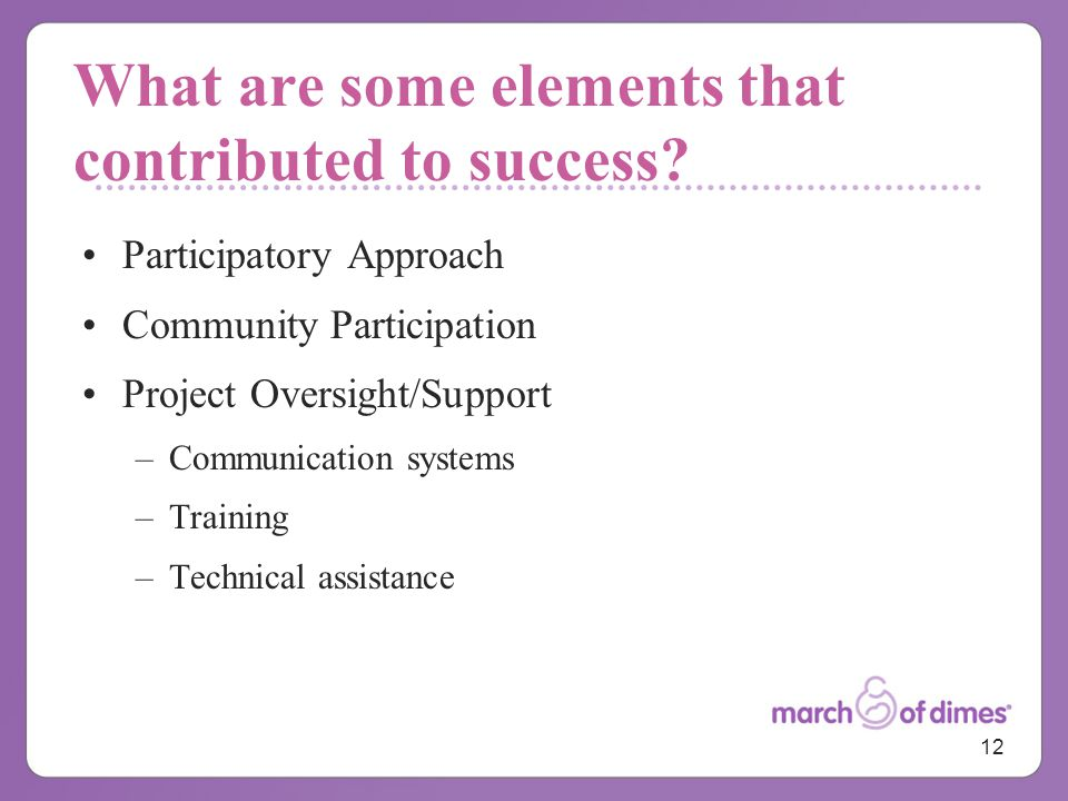 12 What are some elements that contributed to success.