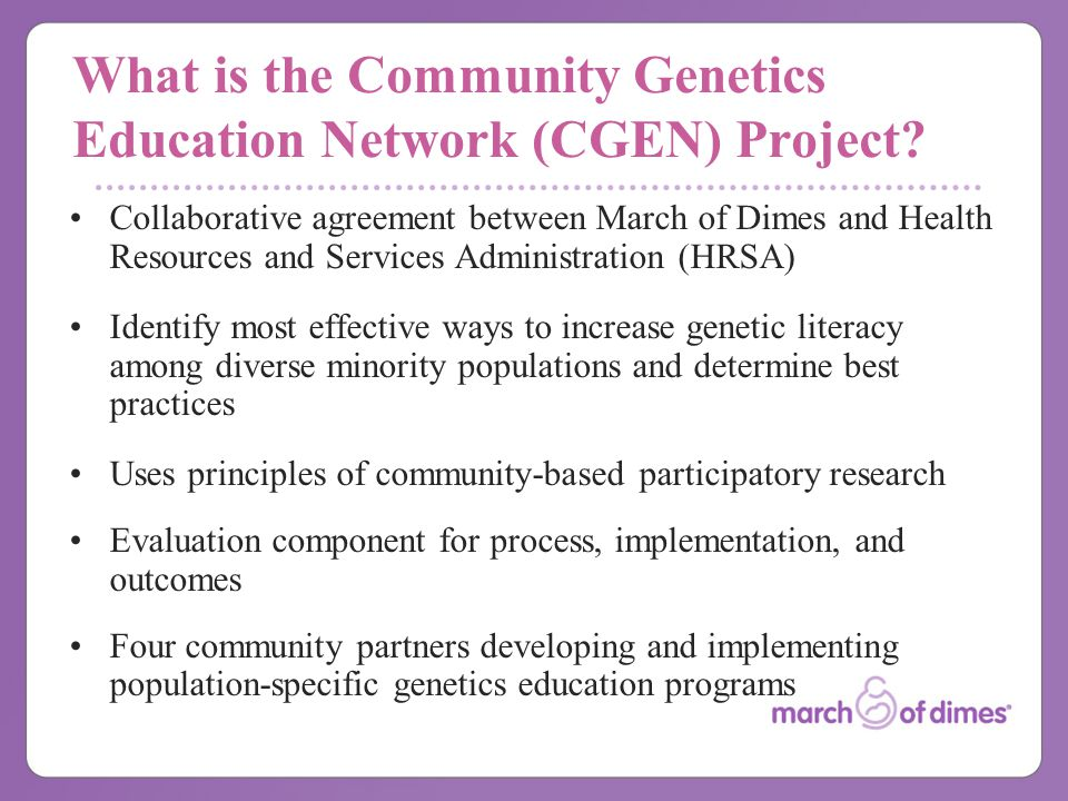 What is the Community Genetics Education Network (CGEN) Project.